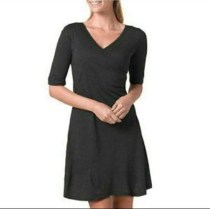 PrAna Faux Wrap Dress * Grey * Wool Sz Small